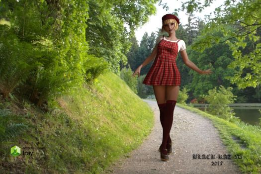 Girl in Red Beret by black-kat-3d