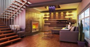 The room with a fireplace by Ultrarender