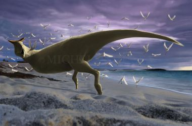 An albino Carnotaurus surprising a flock of Lectav by puntotu