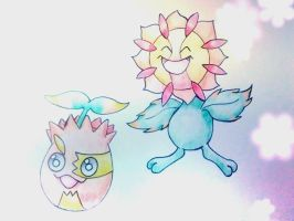 Sunkern and Sunflora (Alolan Forms)