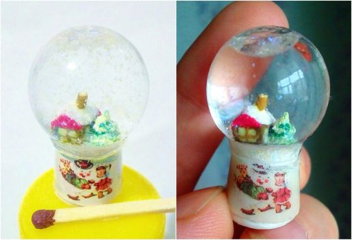 Tiny doll snow sphere by Shalfairy