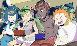 Trial Captains Playing Pokemon Sun and Moon by AlSanya