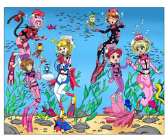 Magical LAMA Scuba Girls - 300th Color Commission by The-Sakura-Samurai