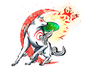 Okami HD Red Moon (nobackground) by heavenwolf109