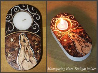 Pyrography - Moon-gazing Hare Tealight Holder by BumbleBeeFairy