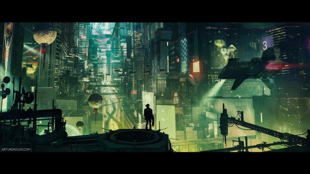 Cyberpunk City (cinematic frame #6) by artursadlos