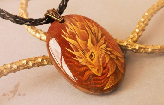 Fire dragon - stone painting by AlviaAlcedo