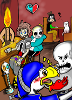 KH x UNDERTALE CROSSOVER COMIC - Grillby's Chaos by dustytuft
