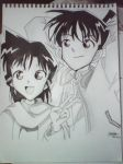 ran and shinichi (line art) by junichiko