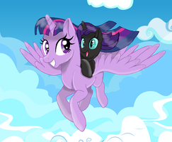Nyx's flight with her mother by MarbleRain25