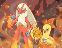 [SpeedArt] Pokemon: Torchic, Combusken, Blaziken by JaidenAnimations