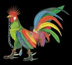 Punky Rooster on Black Background by AJLeibengeist