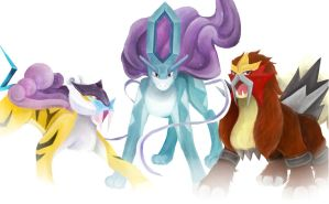 Suicune, Raikou, and Entei by ziryuu