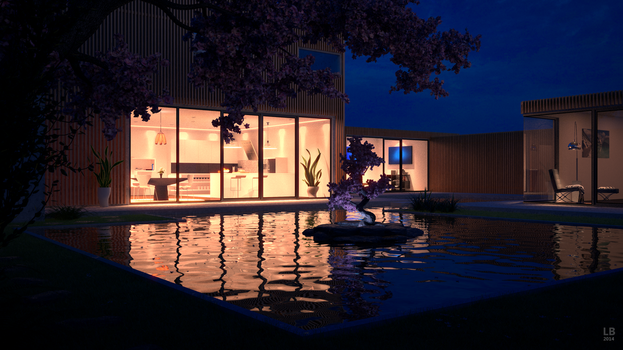 Modern House with pond at night by kn51