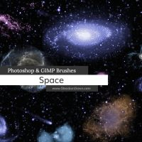 Space Photoshop and GIMP Brushes by redheadstock