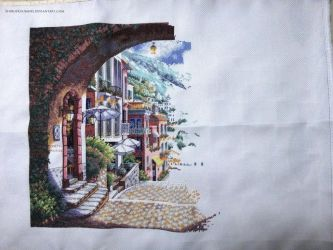 WIP Coastal View Cross Stitch by ShiroiKoumori