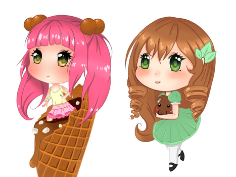 Cute ice cream chibis  by kostromma