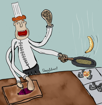 Friendly Chef Cooking an Omlette au fromage by Sleepy1ntrovert