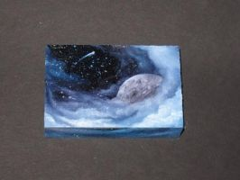 Mini Space on Wood Block by crazycolleeny