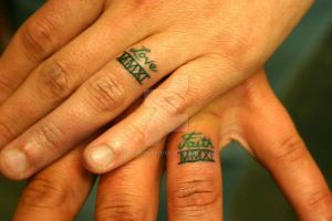 Commitment finger tattoos by All-Wolff
