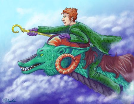 Riddler on a dragon by UnusualJuggernaut