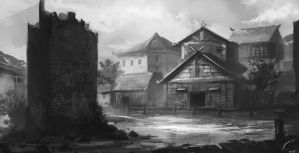 City View - Black and white painting by DeaDerV23