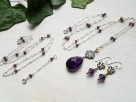 Amethyst, Silver and Gold Set by QuintessentialArts