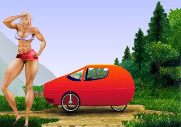 Joy, from dream, velomobile by MuscleWomen-Planet