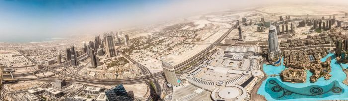 Panorama from Burj Khalifa (Dubai, UAE) by w3rw01f