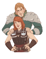 Sadie Hawke and Anders by captainceranna