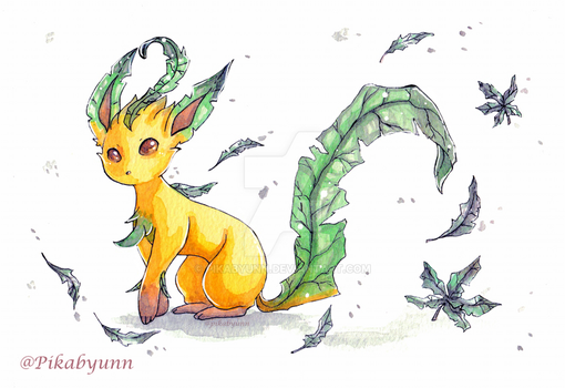 Watercolour Eeveelutions - Leafeon by Pikabyunn