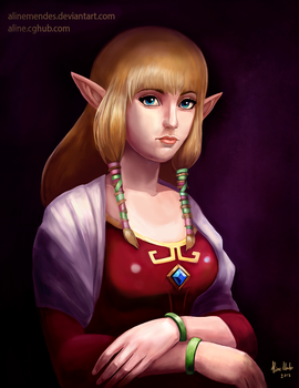 Zelda-painting2 by AlineMendes