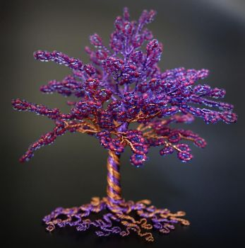 Purple and copper tree of life sculpture by Twystedroots