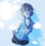 A star is dancing in the blue sky by Louna-Ashasou