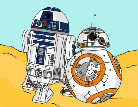 R2-D2 And BB-8 by Zalivka