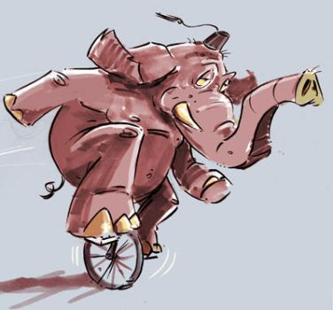 Elephant on a Unicycle by jusscope