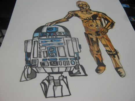 C3PO and R2D2 by bandgeekchic