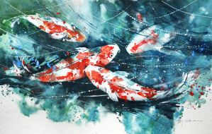 Speed Painting - Koi Fish by Abstractmusiq