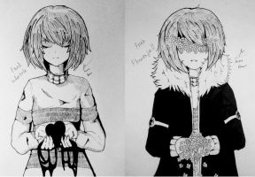 Frisk Undertale and Flowerfell by MimaDomo