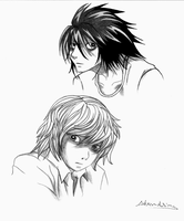 Ryuzaki and Near (Death Note)-Sketch by alexaAnime1