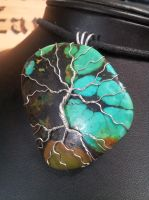 Silver Tree on turquoise by BacktoEarthCreations
