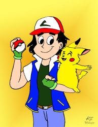 Ash Ketchum in the style of a retro-cartoon by PeterSFay