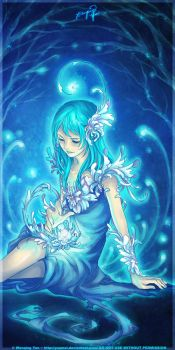 Lady of Blue Chrysanthemums by yuumei