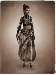 Tribal Steampunk Villain Concept: Landlady by DireImpulse