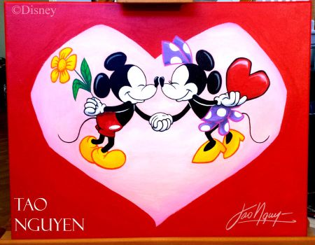 Tao Nguyen's Mickey and Minnie Valentines Painting by TaoNguyenArts