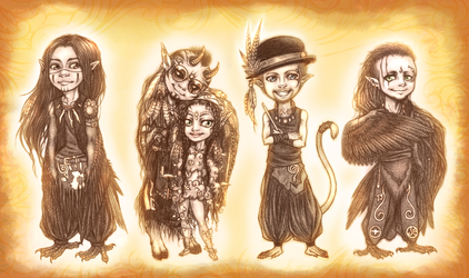 Tiny Pagan musicians of OMNIA by SolerielArt
