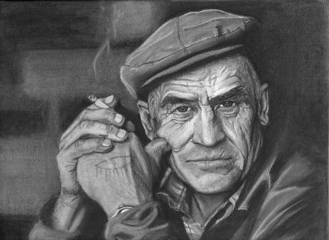 Charcoal drawing of photo by Roman Shalenkin by vytera