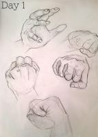 Day 1 of 4: 5 Hand Sketches by Kaitlin73