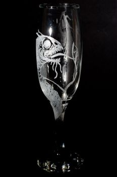 Lovecraftian Glass Engraving by karohemd