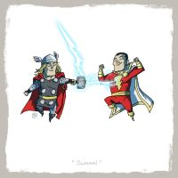 Little Friends - Thor and Captain Marvel by darrenrawlings